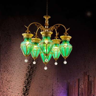 6 Lights Red/Blue/Green Glass Hanging Chandelier Moroccan Brass Curved Arm Living Room Pendant Light Fixture