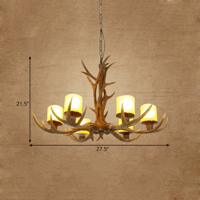 Antler Hanging Chandelier Cottage 4/6 Bulbs 27.5