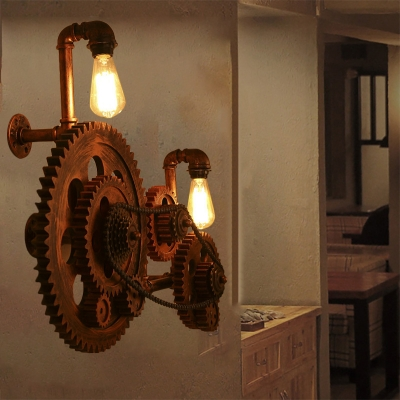 Bicycle Gear Sconce Light Fixture Antiqued Iron 2 Lights Open Bulb Wall Sconce Light Fixture for Coffee Shop