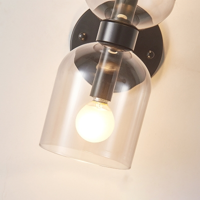 Black Dual Tubular Wall Light Modern Style 2-Bulb Clear Glass Wall Lighting Fixture
