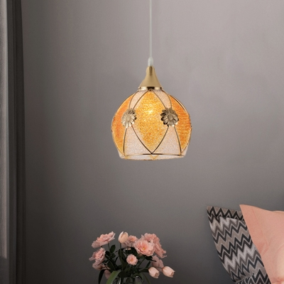 Bowl Dining Room Ceiling Pendant Traditional Plastic 1 Head Yellow Hanging Light Fixture