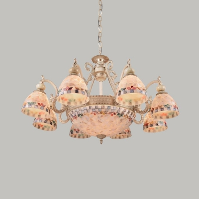 Bowl Shape Hand-Crafted Glass Hanging Chandelier Tiffany-Style 3/5/9 Lights Beige Suspension Pendant