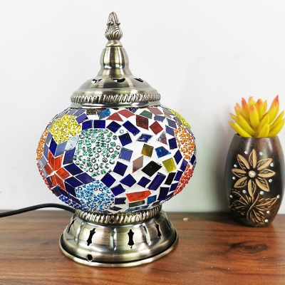 Bronze 1 Head Table Lamp Turkish Stained Glass Global Night Light for Living Room