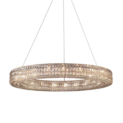 Clear K9 Crystal Ring Hanging Ceiling Light Traditional 6/9 Heads Living Room Chandelier Light