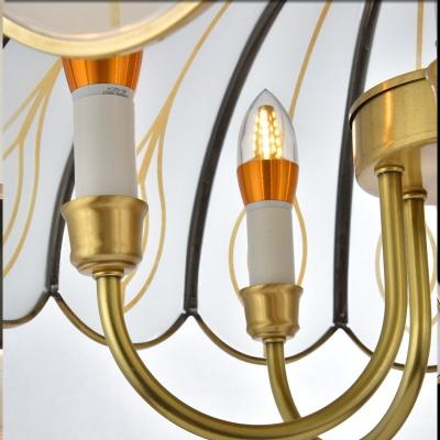Colonial Scalloped Chandelier Lighting Fixture 4/5 Heads White Glass Pendant Ceiling Light for Restaurant