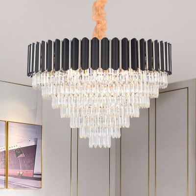 Contemporary Layered Crystal Chandelier Lamp 16/22 Lights Hanging Light Kit in Black for Dining Room HL578068 фото