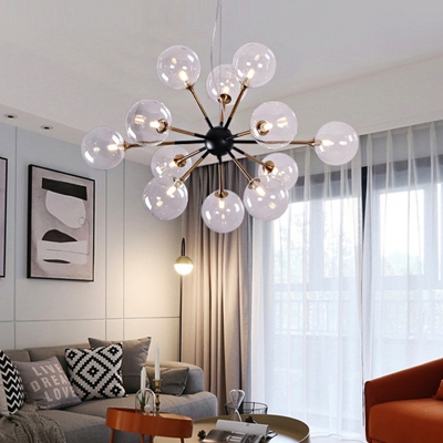 Contemporary Sputnik Chandelier Lighting with Clear Glass Orb Shade 12 Lights Hanging Light