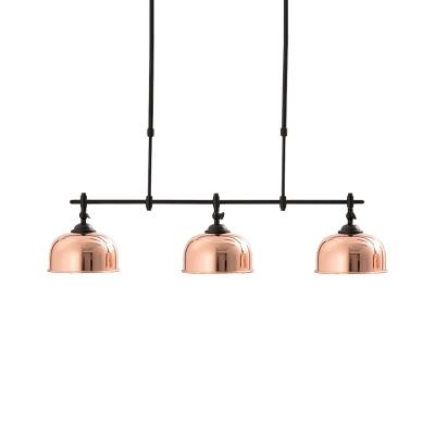 Copper Dome Shade Island Lamp Vintage Stylish 3 Lights Metallic Island Pendant Lighting for Dining Room