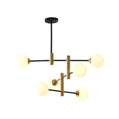Cream Glass Bubble Hanging Chandelier Modern 6 Heads Ceiling Suspension Lamp for Bedroom