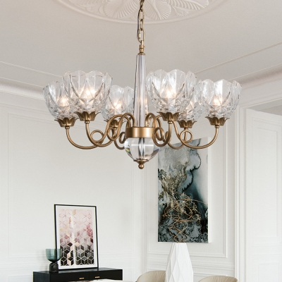 Crystal Bowl Chandelier Lamp Modernism 6 Bulbs Hanging Light Fixture with Brass Curved Metal Arm