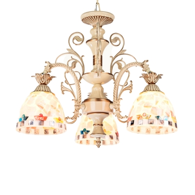 Domed Shaped Chandelier Lamp Tiffany Stained Glass 3/5 Lights White and Gold Hanging Lamp Kit