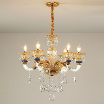 Faceted Crystal Blossom Hanging Chandelier Traditional 6 Lights Amber Ceiling Lamp for Living Room