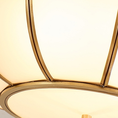 Frosted Glass Brass Ceiling Flush Dome 4 Heads Traditionalism Flush Mount Lamp for Dining Room