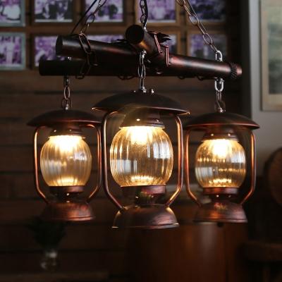 Industrial Lantern Ceiling Chandelier Pendant 3 Lights Metal Hanging Fixture in Red Brown