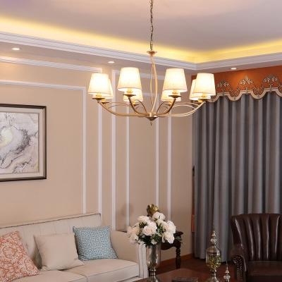 Metal Cone Chandelier Lighting Modern 4/6/8 Lights Hanging Pendant Light in White with Fabric Shade