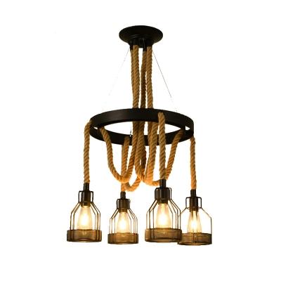 Metal Wheel Chandelier Pendant Light Vintage 4/6/8 Lights Dining Room Ceiling Lamp in Black