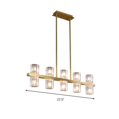 Modernist Cylinder Island Chandelier Clear Crystal 10 Bulbs Kitchen Pendant Lamp in Gold