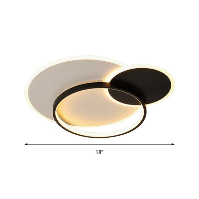 Overlapping Flush Mount Light Fixture Minimalist Acrylic Black and White 18