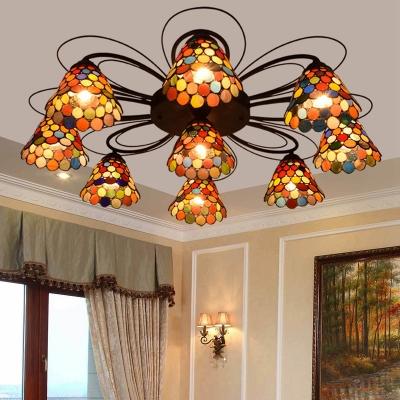 Stained Glass Orange Ceiling Light Bell 3/7/9 Heads Tiffany Semi Flush Mount Light for Bedroom