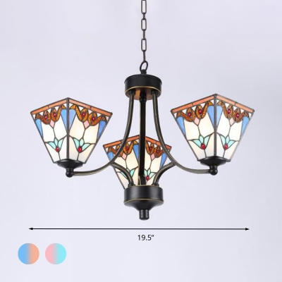 Tiffany Pyramid Chandelier Lamp 3/6/8 Heads Stained Art Glass Pendant Ceiling Light in Blue and Orange/Pink and Blue