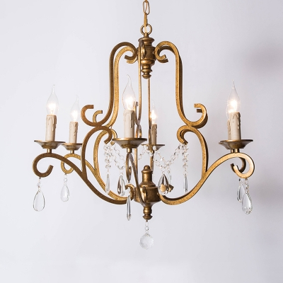 Traditional Candelabra Hanging Pendant 6 Heads Clear K9 Crystal Chandelier Lighting Fixture in Gold, HL580920