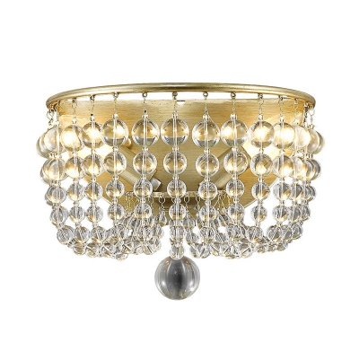 Traditionalism Beaded Wall Mount Lamp 2 Heads LED Crystal Wall Sconce Light in Gold