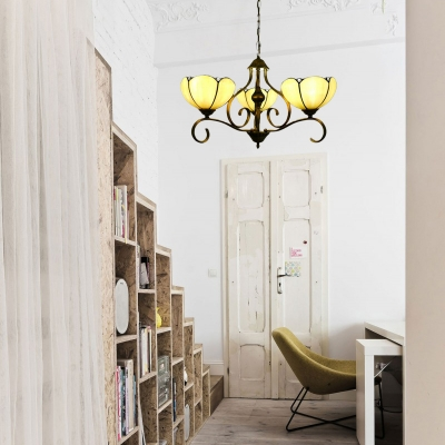 Yellow/Blue Scalloped Chandelier Tiffany 3/6/8 Lights Stained Glass Hanging Ceiling Light for Living Room