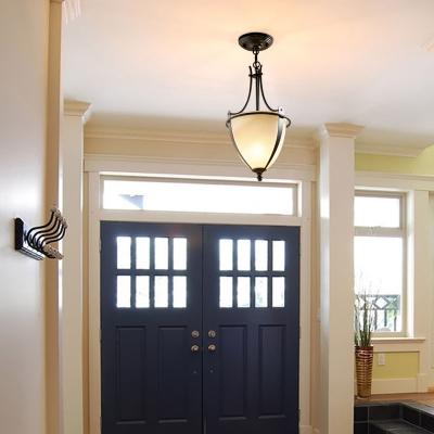 1 Bulb Bowl Pendant Light Rustic Black Prismatic Milk Glass Hanging Lamp for Foyer