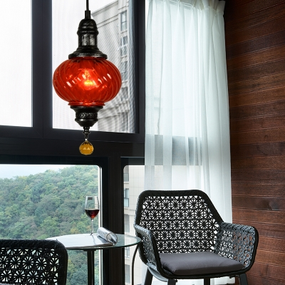 1 Light Restaurant Hanging Light Vintage Style Red/Blue/Green Pendant Lamp with Oval Textured Glass Shade