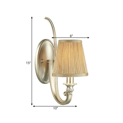 1 Light Tapered Wall Lighting Fixture Traditional Flaxen Fabric Sconce Light for Bedroom