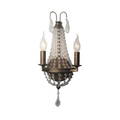 2/3 Lights Beaded Wall Mounted Lighting Minimalist Rust Metal Sconce Light for Bedroom, 8