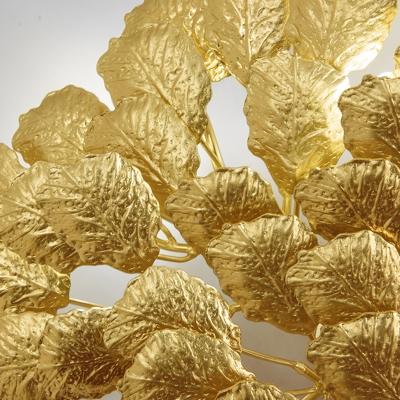 2 Lights Leaf Shape Wall Lighting Contemporary Stylish Golden/Dark Coffee Aluminum Wall Mount Light for Living Room