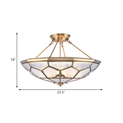 3/4/6 Lights Living Room Semi Flush Mount Traditional Gold Semi Flush Light with Faceted Frosted Glass Shade