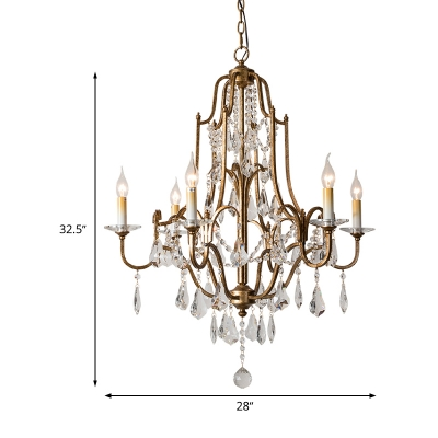 Antique Brass 4/6/9 Lights Chandelier Lighting Traditional Crystal Candle-Style Hanging Light Fixture