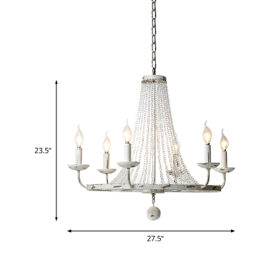 Beaded Crystal Ceiling Chandelier Traditional 6 Heads Distressed White Hanging Light Kit