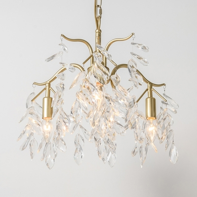 Brass Candle-Style Chandelier Light Fixture Simple Crystal 4/7/9 Lights Dining Room Hanging Pendant
