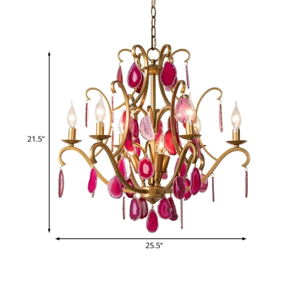 Candelabra Crystal Chandelier Lighting Minimalism 5/9/12 Lights Dining Room Pendant Lamp in Rose Red