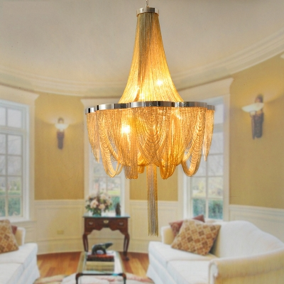 Chain Living Room Chandelier Lighting Fixture Rural Metallic 6 Lights Brown/Gold Hanging Ceiling Light for Living Room