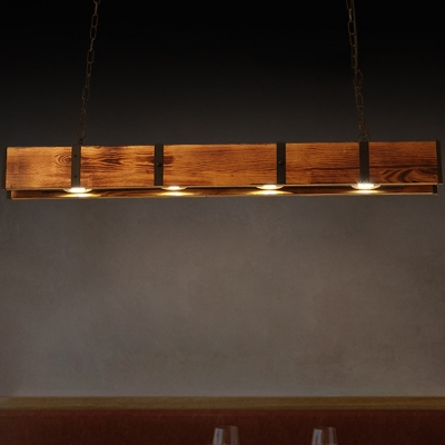 Linear Island Pendant Light Loft Style Wood and Metal 4 Lights Dining Room Island Lighting in Brown