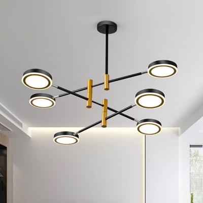 Metal Sputnik Chandelier Light Modern 4/6 Heads Black-Gold/White Hanging Light Kit, White/Warm Light
