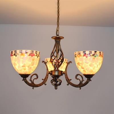 Mosaic Chandelier Light Mediterranean Hand Cut Glass 3/5/9 Lights Beige Suspension Lighting Fixture for Living Room