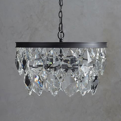 Round Dining Room Pendant Chandelier Traditional Faceted Crystal 4 Heads Black/Gold Hanging Ceiling Light