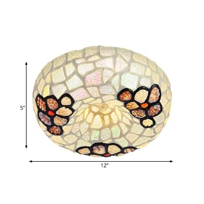 Round Flush Ceiling Light 2/3 Lights Shell Baroque Style Flushmount Lighting in White/Black/Pink for Bedroom, 10