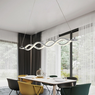 Silver Twist Chandelier Lighting Modernist LED Crystal Pendant Light Fixture for Dining Room