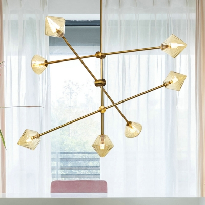 Tapered Living Room Chandelier Lighting Contemporary Amber Ribbed Glass 7 Heads Hanging Ceiling Light