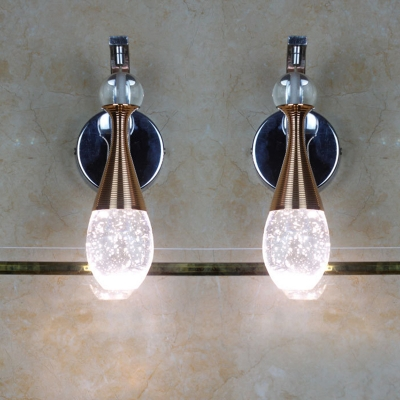 Teardrop Living Room Wall Light Sconce Traditional K9 Crystal LED Chrome Wall Lighting Fixture in Warm/White Light
