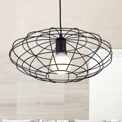 Vintage Oval Suspension Pendant 1 Light Metal Ceiling Light in Black for Living Room, HL575936