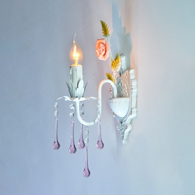 White/Green Candle Wall Light Traditional Beveled Crystal 1 Head Living Room Wall Sconce Lighting