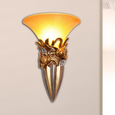 1 Light Wall Lighting with Bell Yellow Glass Country Style Living Room Wall Light Fixture in Silver/Bronze/Gold