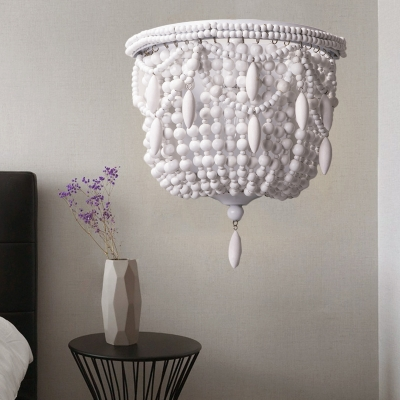 1 Light Wood Sconce Light Fixture Countryside White Beaded Living Room Wall Lighting Idea